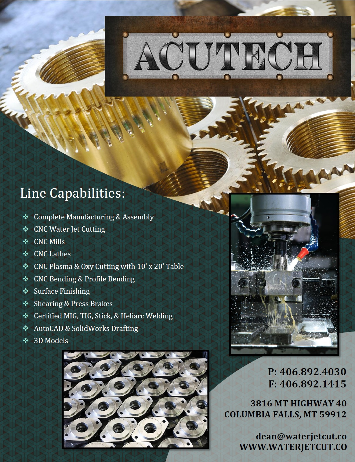 Acutech Metal Works Machining Line Card Acutech Metal Works