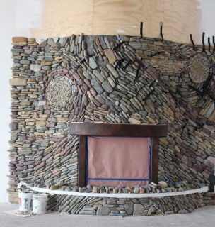 Mosaic River Rock Fireplace