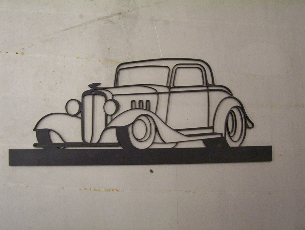 waterjet-cut-steel-classic-car-art