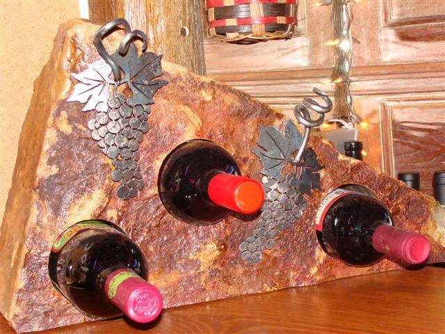 Acutech Works Stone Wine Rack With Steel Grapes Acutech